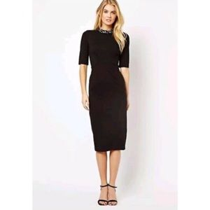 Ted Baker London Black Jeweled Neck Midi Dress